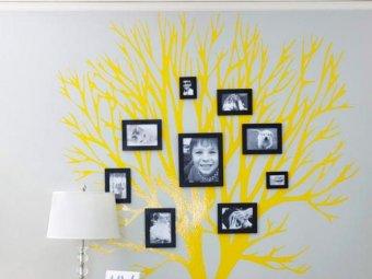 Arbore genealogic vopsit pe perete
