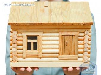 Casa din lemn in miniatura tinuta in palme de o femeie