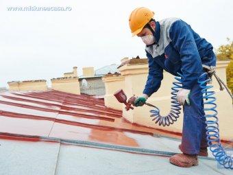 Muncitor care vopseste un acoperis din tabla